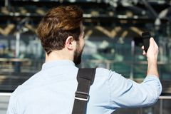 Young man traveling and taking selfie Stock Photos