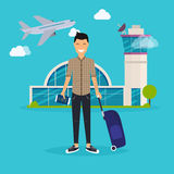 Young man traveling with travel bag, holding passport and ticket. S. Airport. Travel and tourism. Flat design modern vector illustration concept Stock Photography