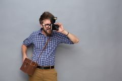 Young man traveller Stock Images