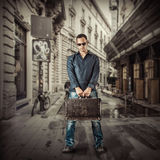 Young man traveller in street of european city Stock Images
