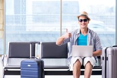 The young man travelling for his summer beach vacation Royalty Free Stock Photos