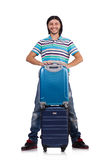 Young man travelling with suitcases isolated Stock Photo