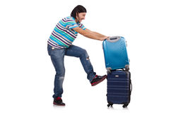 Young man travelling with suitcases isolated Royalty Free Stock Photos