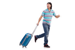 Young man travelling with suitcases isolated Stock Photography