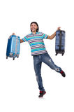 Young man travelling with suitcases isolated Stock Images
