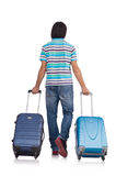 Young man travelling with suitcases isolated Royalty Free Stock Image