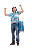 Young man travelling with suitcases isolated Stock Image