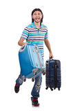 Young man travelling with suitcases isolated Royalty Free Stock Images