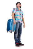 Young man travelling with suitcases isolated Royalty Free Stock Photo