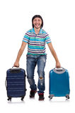 Young man travelling with suitcases Stock Photos