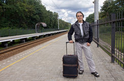 Young man travelling by train Royalty Free Stock Photo