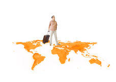 Young man travels around the world Stock Image