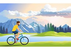 young man travels by bike on the road around the lake., illustration royalty free illustration
