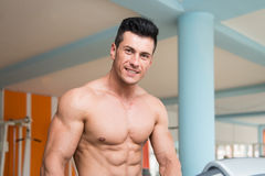 Young Man On Treadmill stock photography
