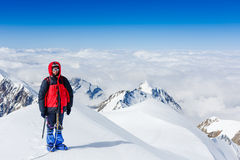 Young man trekking in the mountains Stock Photography