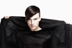Young Man with Trendy Haircut - Isolated on White Stock Images