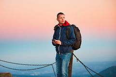 Young man on the trip. Stock Photo