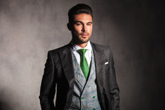 Young man in tuxedo coat and vest with green tie Royalty Free Stock Images
