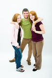 A young man and two beautiful girl Royalty Free Stock Photography