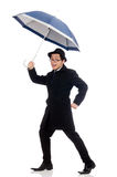 Young man with umbrella isolated on white Royalty Free Stock Photography