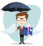 Young man with an umbrella, vector illustration Royalty Free Stock Images