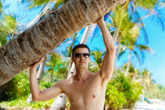 Young man under a palm tree on a tropical beach. Tropical sky an Stock Image