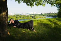 Young Man Under The Tree Stock Photography