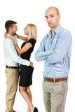 Young man unhappy jealous couple behind Royalty Free Stock Images