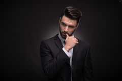 Young man, upper body, handsome posing suit elegant Royalty Free Stock Photo