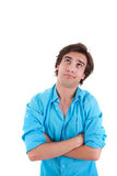 Young man, upset with his arms crossed Stock Photo