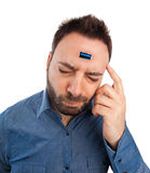 Young man with usb port implanted in the brain. Royalty Free Stock Image