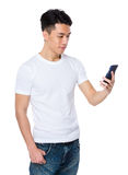 Young man use of the tablet pc Stock Photos