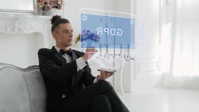 Young man uses hologram GDPR