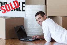Free Young Man Using A Laptop Royalty Free Stock Photo - 9281635