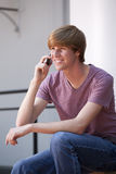 Young Man Using a Cell Phone Stock Photos