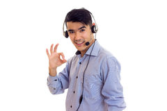 Young man using headphones Stock Image