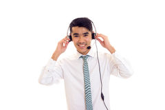 Young man using headphones Stock Photography