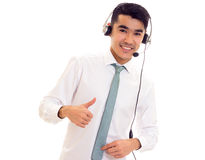 Young man using headphones Stock Photo