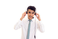 Young man using headphones Royalty Free Stock Image