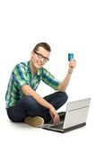 Young man using laptop Royalty Free Stock Photos
