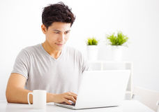 Young man using laptop in living room Stock Photography