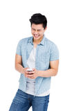 Young man using mobile phone Stock Photos