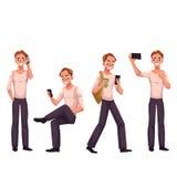 Young man using phone, smartphone, calling, texting, browsing, making selfie Stock Image