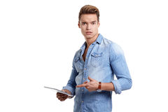 Young man using touchpad Stock Photos