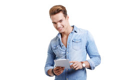 Young man using touchpad Royalty Free Stock Photo