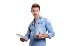 Young man using touchpad Royalty Free Stock Photography