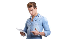 Young man using touchpad Stock Photography