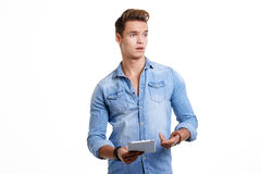 Young man using touchpad Stock Photo