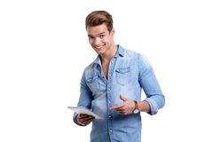 Young man using touchpad Royalty Free Stock Image