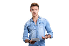 Young man using touchpad Royalty Free Stock Photos